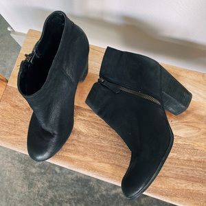 B.P. black heeled leather ankle booties